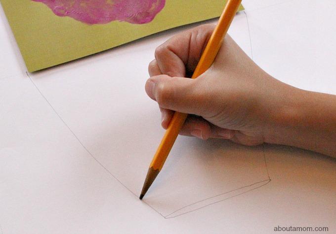 Hand Print Bouquet Mother's Day Card, sketch flower pot