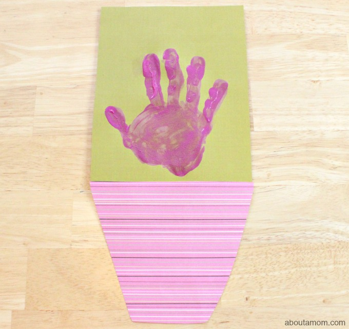 Hand Print Bouquet Mother's Day Card, top and bottom