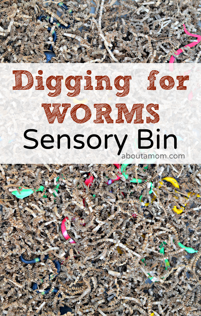 This fun filled worm sensory bin for kids gives their fine motor skills a workout while working on transferring skills.