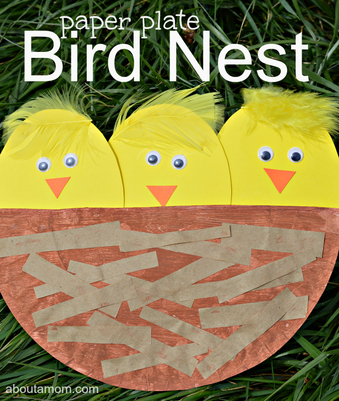 This paper plate bird nest is a great craft for kids to do this spring or while studying birds