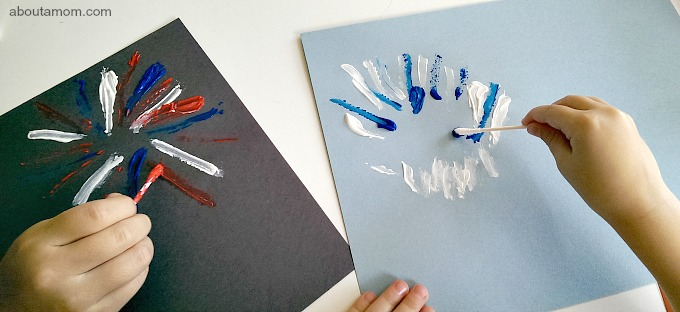 Get kids into the Patriotic spirit with this simple and fun Q-Tip painted firework craft.
