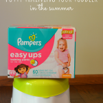 Great tips for potty training your toddler in the summer when you are activie and traveling.