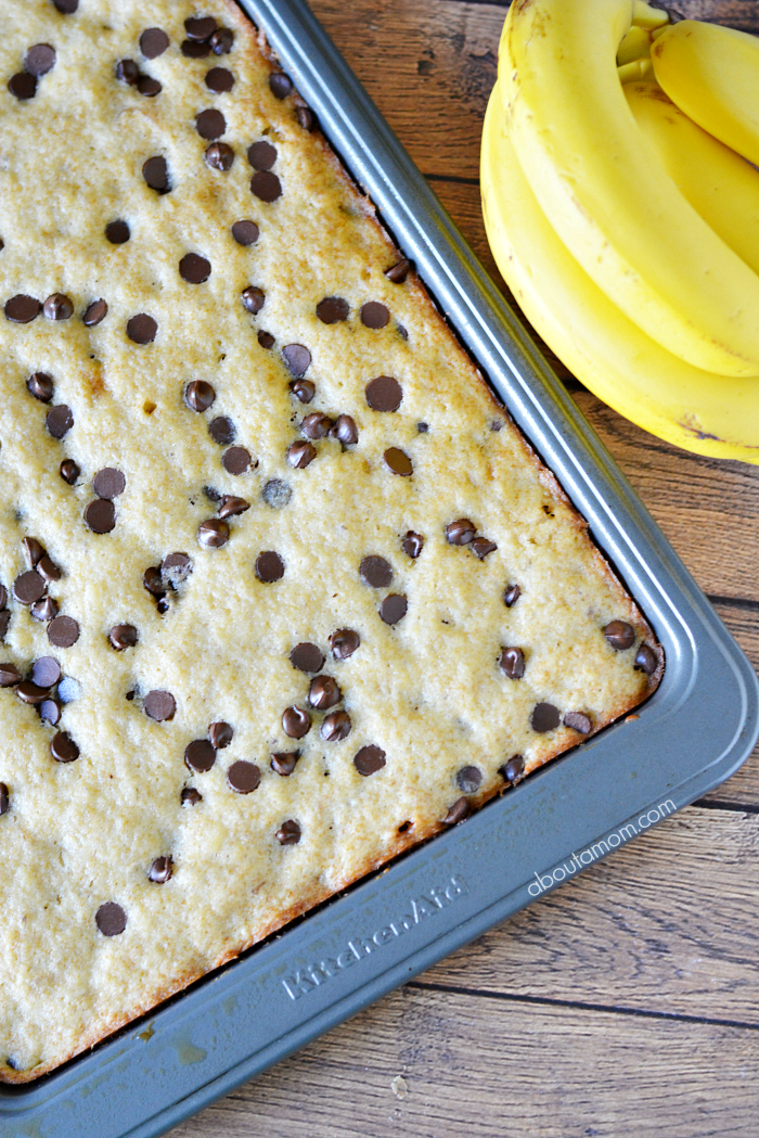 Quick and easy Banana Chocolate Chip Bars are a nice alternative to the classic chocolate chip cookie. These bars are soft, moist and a great treat for any day of the week.