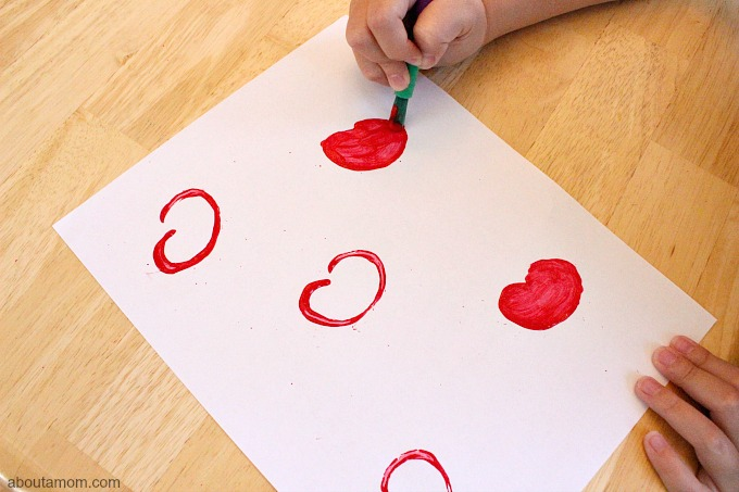 DIY Apple Stamp Craft for Kids, fill in color
