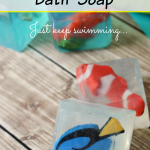 Make your own inspired by Finding Dory bath soap. Children will enjoy playing with Dory and her ocean friends at bath time.