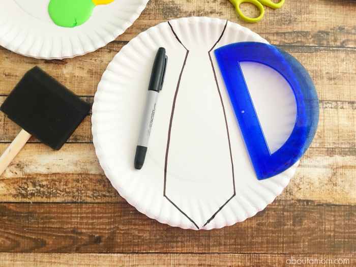Paper Plate Tie Craft Step One