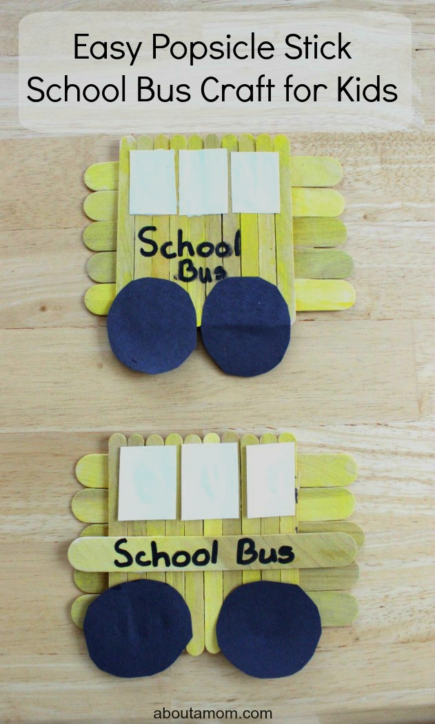 Easy Popsicle Stick School Bus Craft For Kids About A Mom