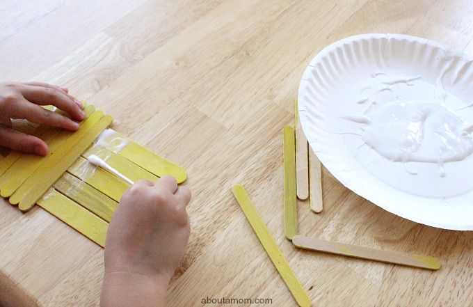 Popsicle Stick School Bus glue