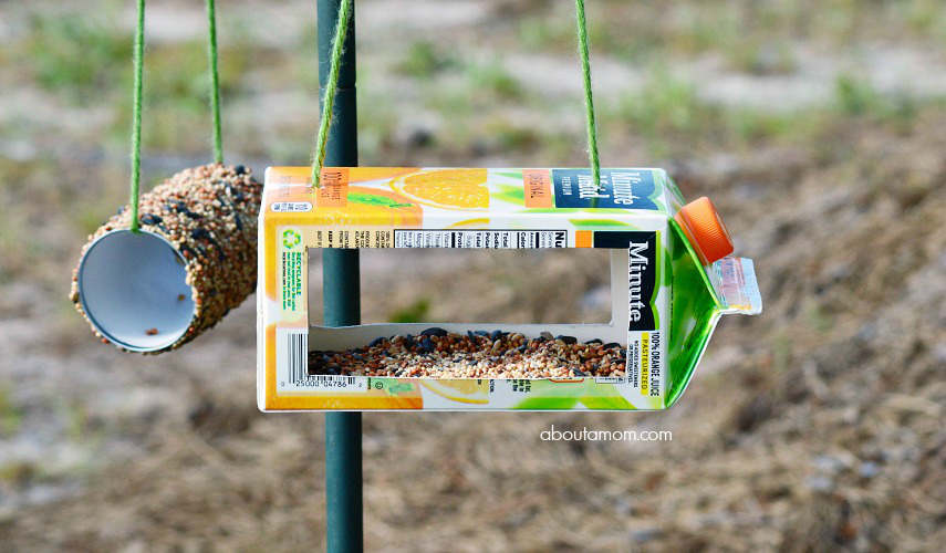 Want to attract more birds to your backyard? Make upcycled bird feeders from juice containers. Backyard bird watching can be a fun and educational activity for the whole family.