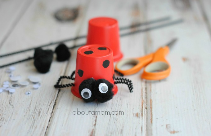 Simple. easy to make Lady bug craft that uses recycled K-cups