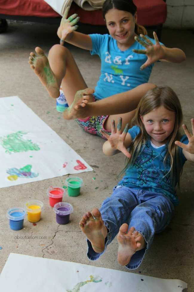 The girls are a mess- Make homemade finger paint and how to clean up afterwards