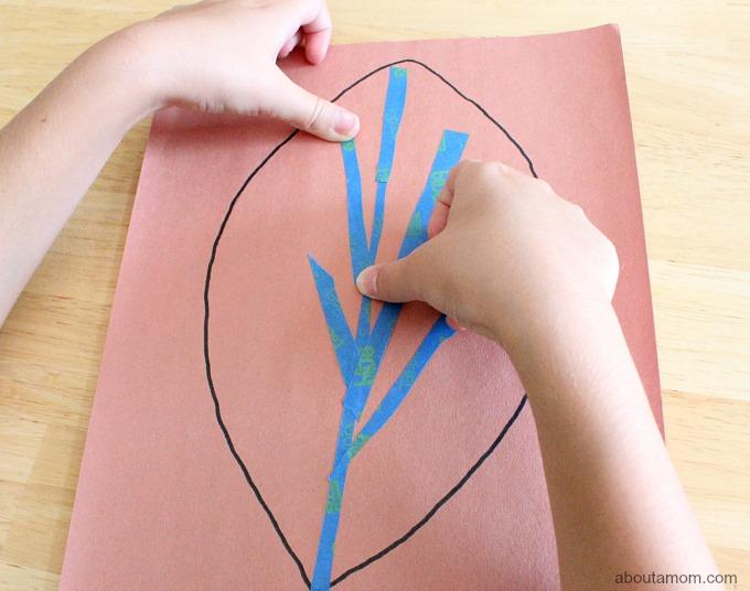 Tape Resist Leaf Paintings with Kids