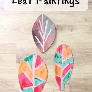 Tape Resist Leaf Paintings with Kids