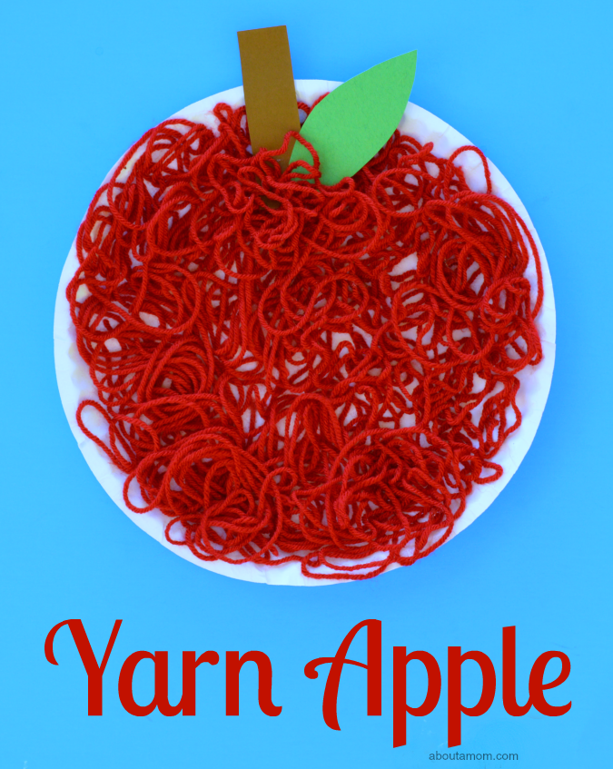 This yarn apple craft is a fun and easy fall, back to school, letter A, or Johnny Appleseed craft for kids.