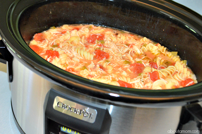 Chicken Parmesan Soup, made in a Crock-Pot® slow cooker, is a delicious twist on a classic Italian dish. You're going to love this easy slow cooker recipe!
