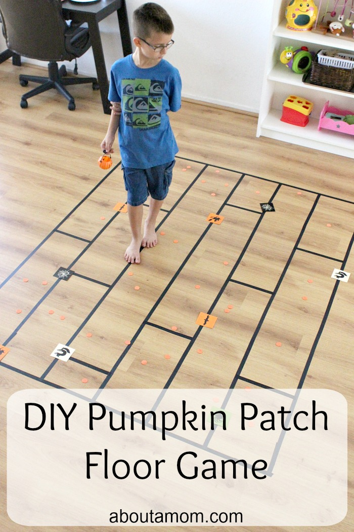 This DIY pumpkin patch floor game is easy to assemble and will keep your kids busy for hours. It's loads of fun!