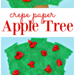 Kids will work on fine motor skills as they tear crepe paper to make this apple tree craft from basic craft supplies for apple season.