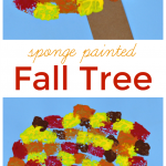 Sponge Painted Fall Tree Craft for Kids