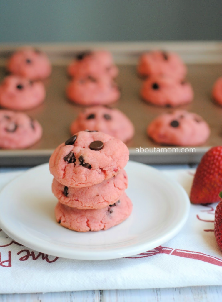 Strawberry Chocolate Chip Cake Mix Cookies are oh-so scrumptious and incredibly simple to make.