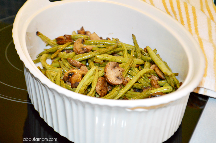 Roasted Green Beans and Mushrooms with Balsamic