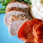 Holiday Worthy Peppercorn Pork Tenderloin with Roma Tomatoes