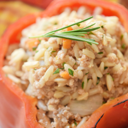 Roasted Turkey and Stuffed Peppers is a deliciously simple family meal that is also great for a casual get-together.