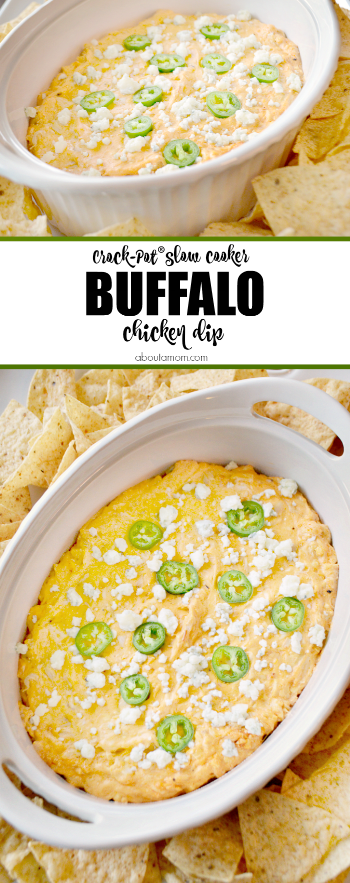 This cheesy and delicious Crock-Pot® Slow Cooker Buffalo Chicken Dip is perfect for your next game day gathering or party. It encompasses all the flavors of your favorite buffalo chicken wings.
