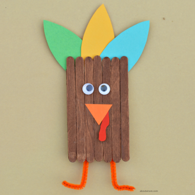 This popsicle stick turkey craft is a great way to get kids excited and involved in the Thanksgiving festivities.