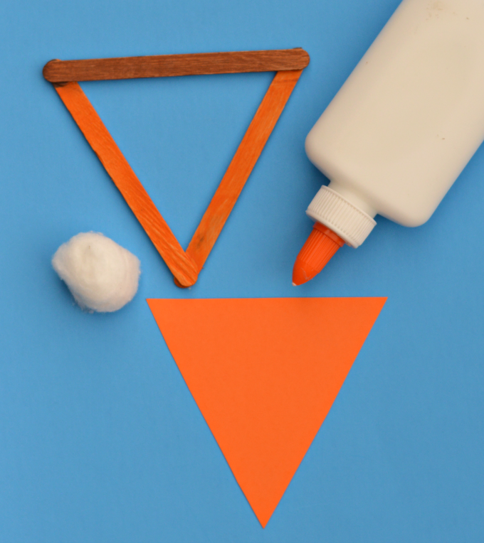 Popsicle sticks pumpkin pie kid craft for Thanksgiving and Fall.