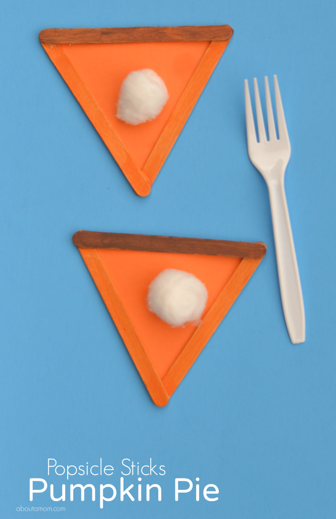 Popsicle sticks pumpkin pie craft for Thanksgiving and Fall.