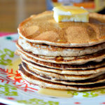 Gingerbread Pancakes with Cinnamon & Brown Sugar Syrup