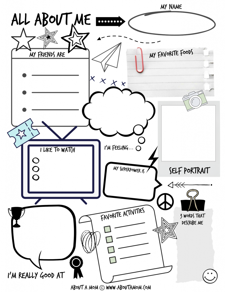 All About Me Printable Activity Page For Kids About A Mom