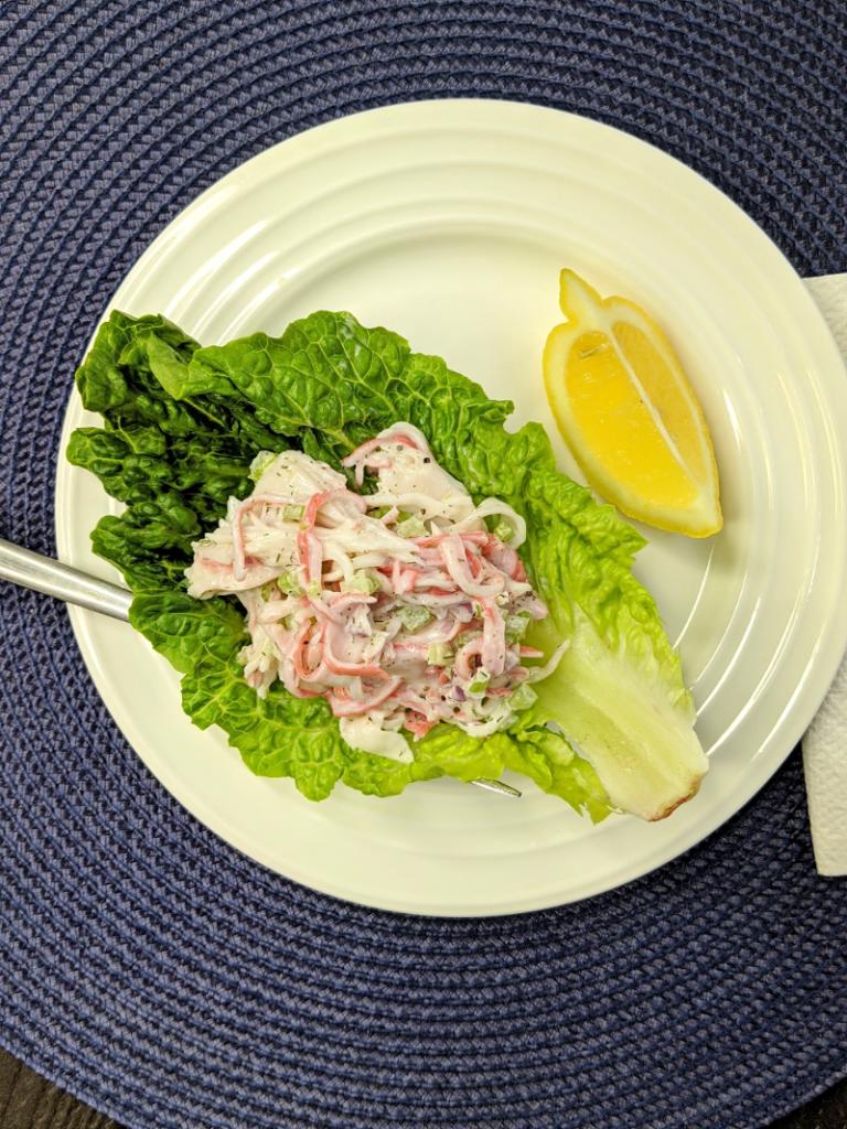 seafood salad on bed of lettuce