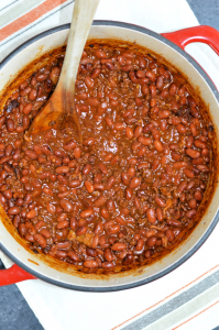 A delicious bean recipe made with ground beef, bacon, a sweet tangy sauce, and a surprising smokey flavor. This BBQ Cowboy Beans recipe is the perfect side dish for tailgating and backyard barbecues.