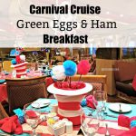 The Green Eggs and Ham Breakfast on Carnival Cruise is a special event offering on most cruises. The Dr. Seuss themed breakfast includes characters, a themed menu, and over-the-top Seuss inspired decorations.