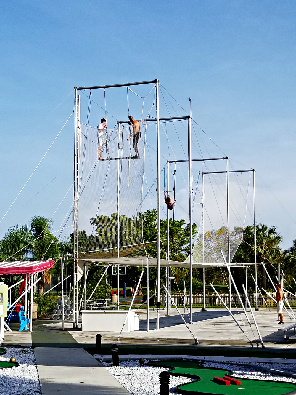At Club Med Sandpiper Bay in Florida, you can participate in a wide array of resort activities, such as professional sports academies, yoga and even a flying trapeze! It's a great resort for active families.