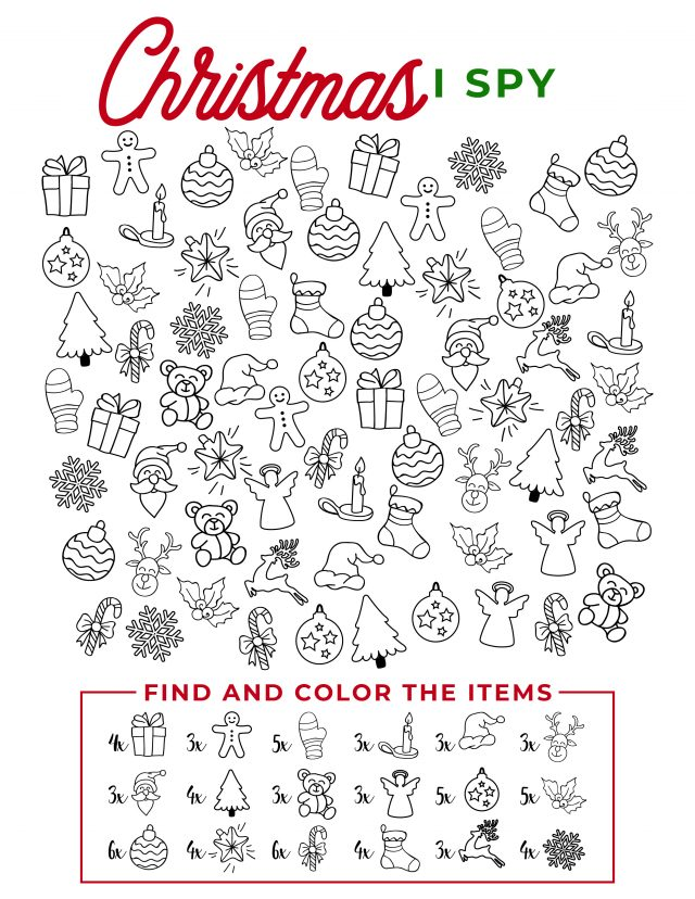 Looking for a fun way to keep kids busy? Use this Free Christmas printable. Fun and easy for all ages, this Christmas I Spy printable is a fun way to keep kids occupied when you are busy doing other things.