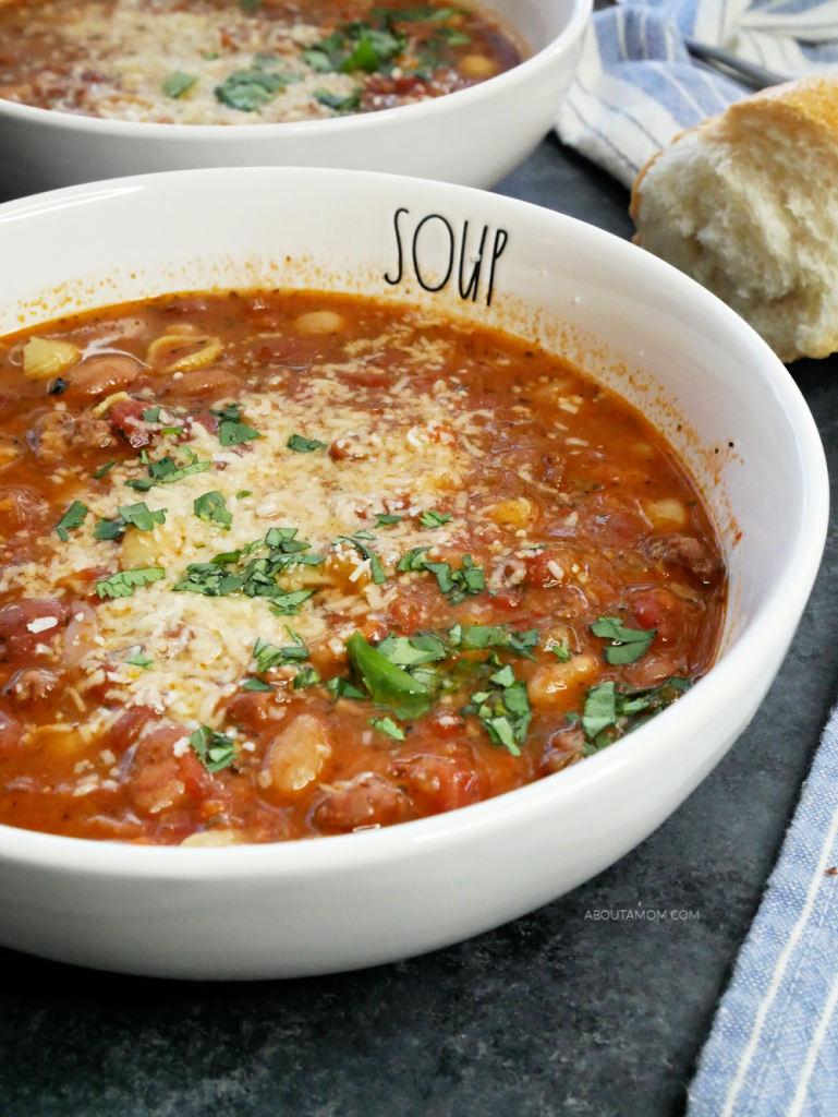 When the weather is cool and you feel like staying indoors, it's time to make a warm and comforting soup like this Italian Bean Soup with Sausage. This delicious, hearty winter soup is sure to take the chill from your bones. It's a classic Italian bean soup recipe made with dried beans.