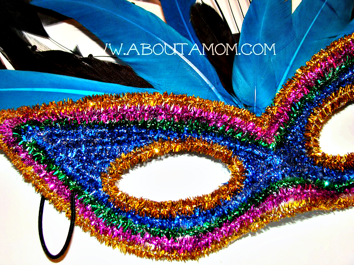 A Mardi Gras mask craft. This DIY Mardi Gras Mask is festive and fun to make.