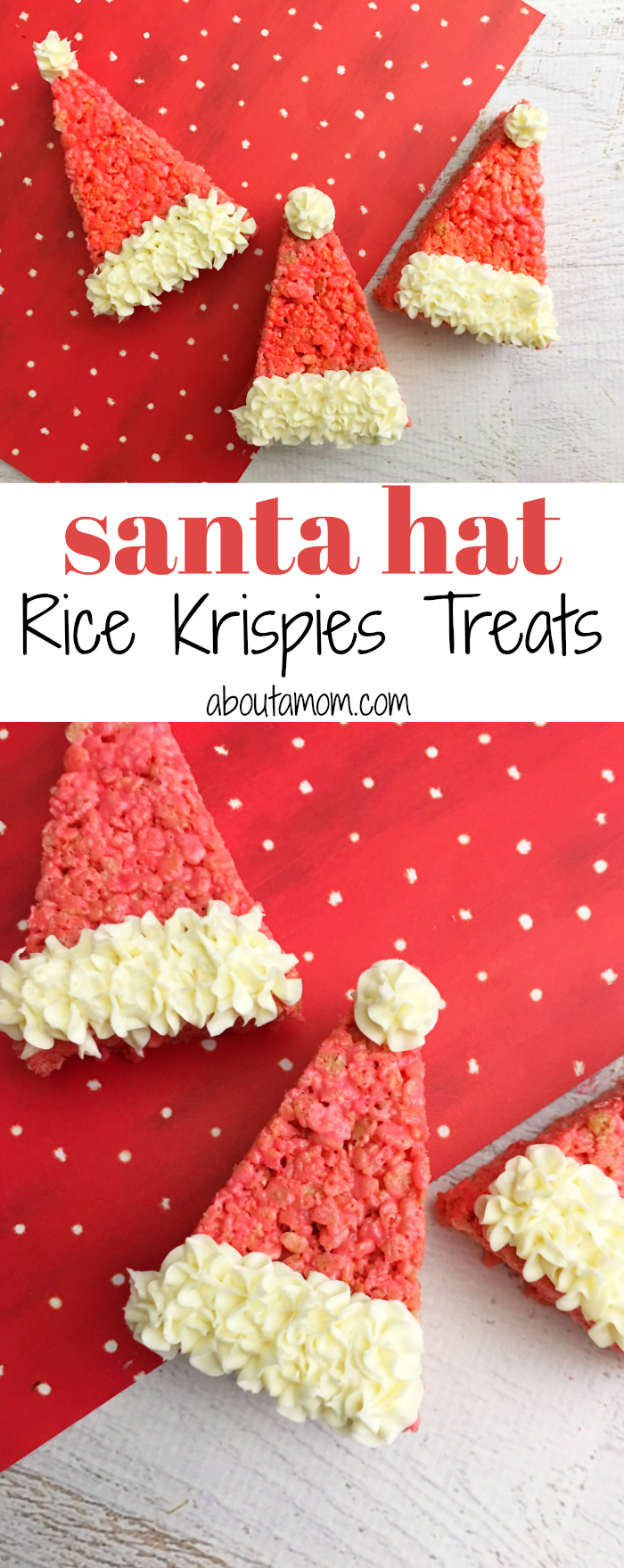 Looking for a last minute Christmas treat? These cute Santa Hat Rice Krispie treats are so cute, easy to make and ready in no time.