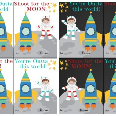 Free Printable Space Theme Valentine's Day Cards for Kids