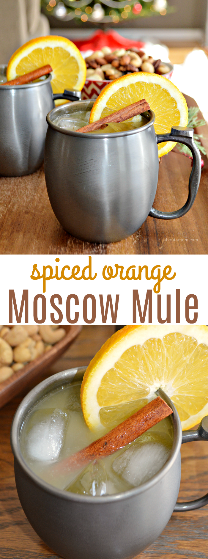 This Spiced Orange Moscow Mule cocktail is the perfect, festive cocktail for your holiday gatherings. The delicious holiday drink comes together easily and is made with orange juice, vodka, ginger beer and a simple syrup spiced with whole cloves and cinnamon sticks.