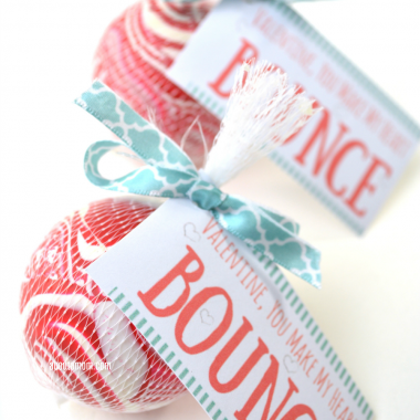 """You Make My Heart Bounce"" printable Valentines are so much fun, and kids will enjoy the bouncy ball. They are inexpensive and incredibly simple to make."