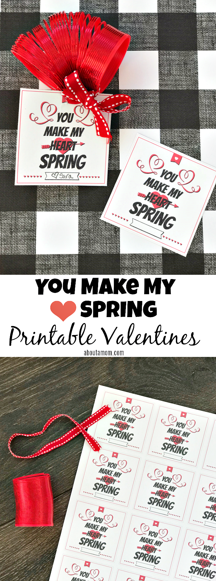 You Make My Heart Spring Valentine Printable. Just print, cut out and attach to a small spring toy. This is the perfect Valentine for kids to hand out to the class.