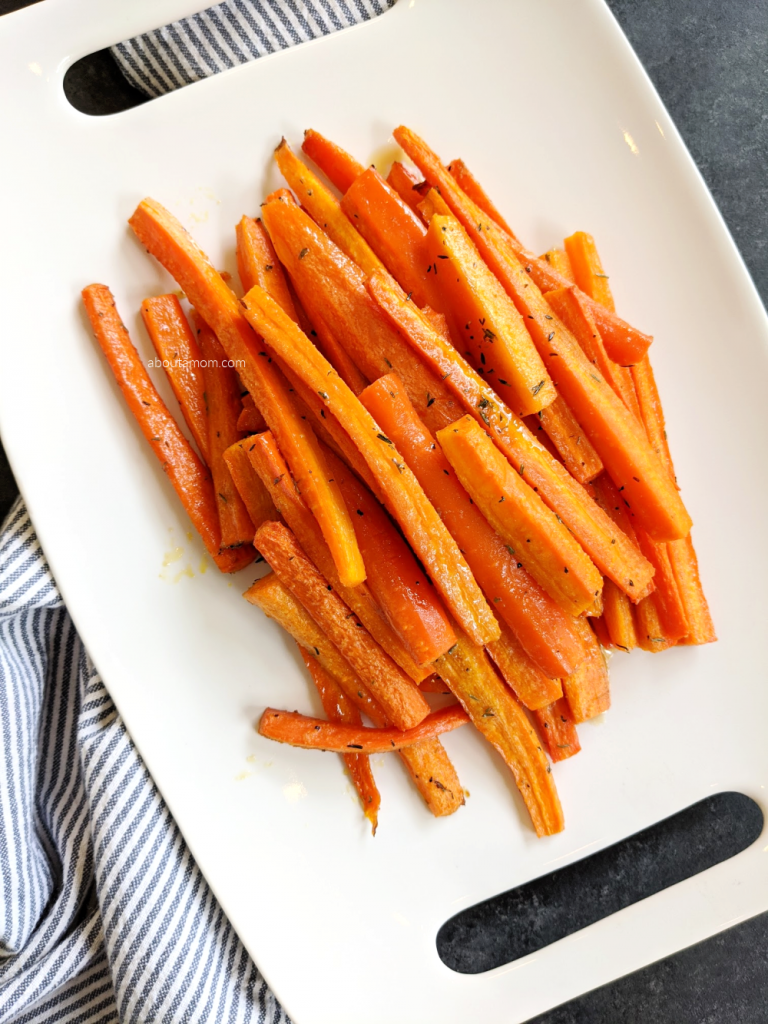 roasted honey glazed carrots on platter