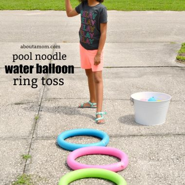 DIY pool noodle water balloon ring toss game. Have fun and cool off outdoors with this fun summer game.