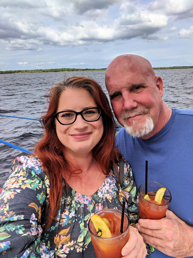 St Johns Rivership Co Sanford, Florida - Couple on the deck of the rivership enjoying drinks