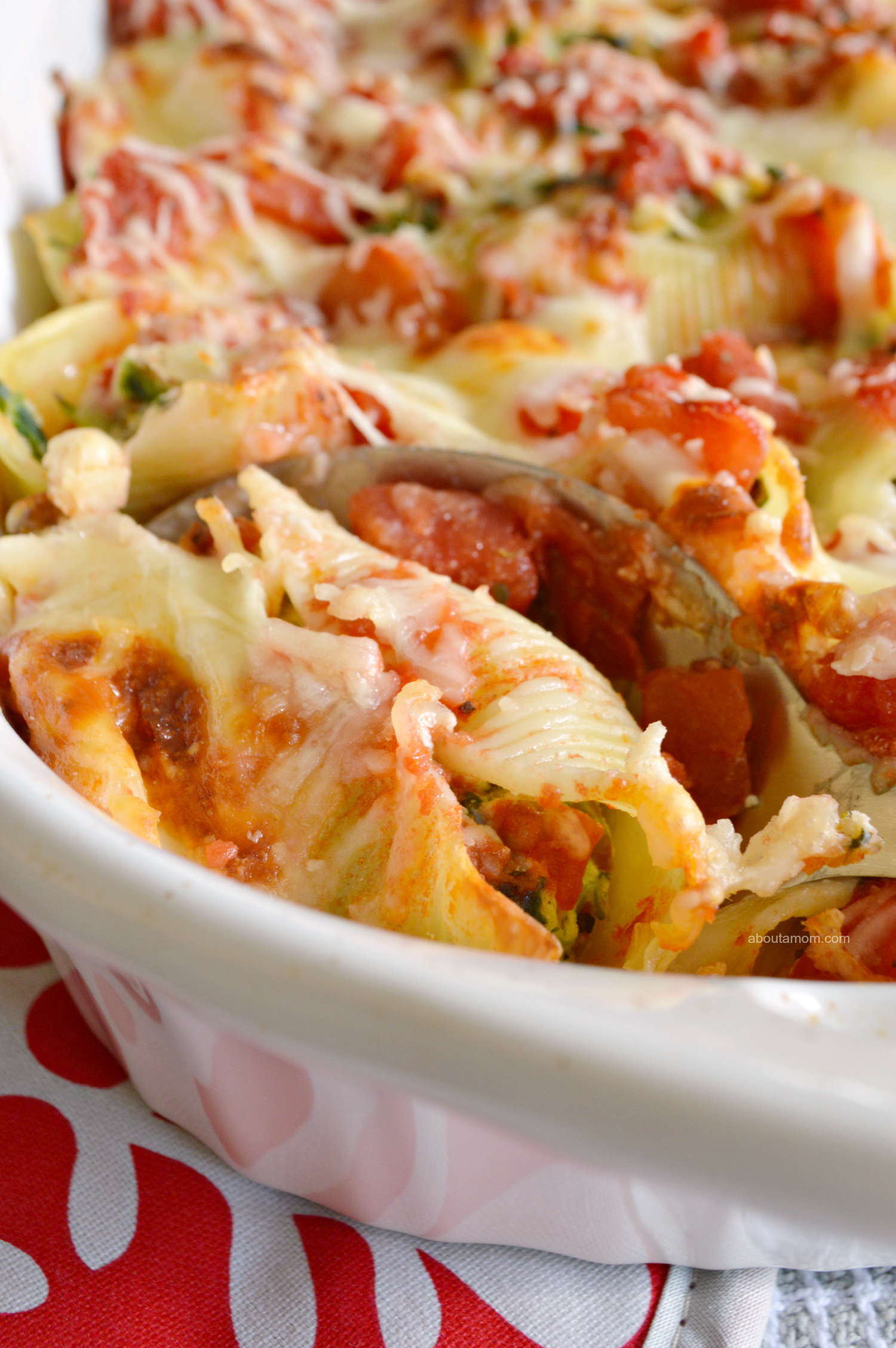 Italian Sausage, Spinach and Ricotta Stuffed Shells recipe. Jumbo pasta shells filled with a mixture of sweet Italian sausage, spinach and ricotta cheese. Smothered in a chunky red sauce and topped with Mozzarella and Parmesan cheeses. A worthy holiday recipe.