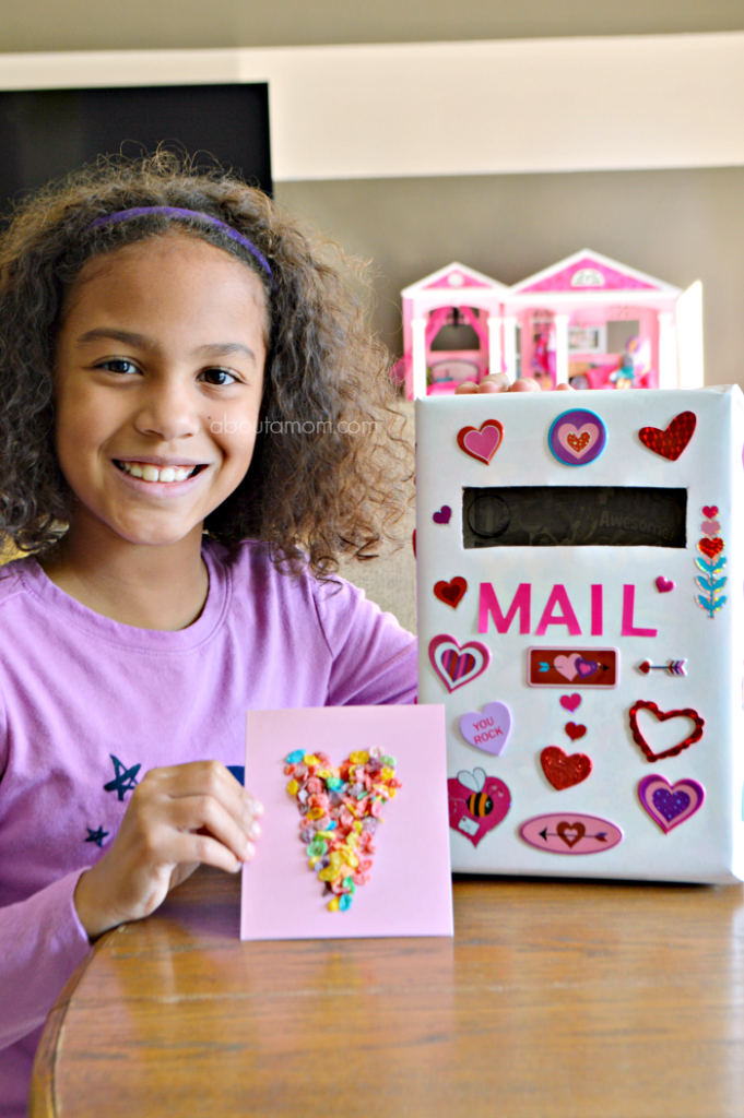 Make Valentine's Day more fun for kids with these colorful Fruity Pebbles Valentines and a cereal box mailbox to collect all your Valentine's Day cards.