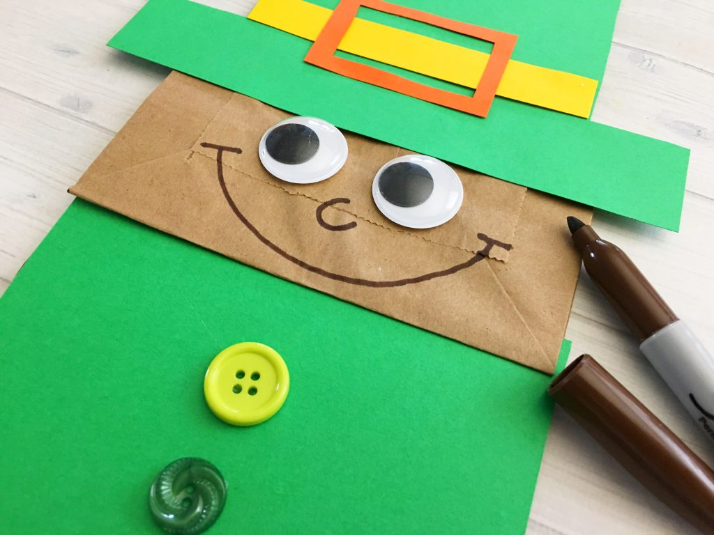 Celebrate St. Patrick's Day with the kids. Make this fun Leprechaun paper bag kid craft.
